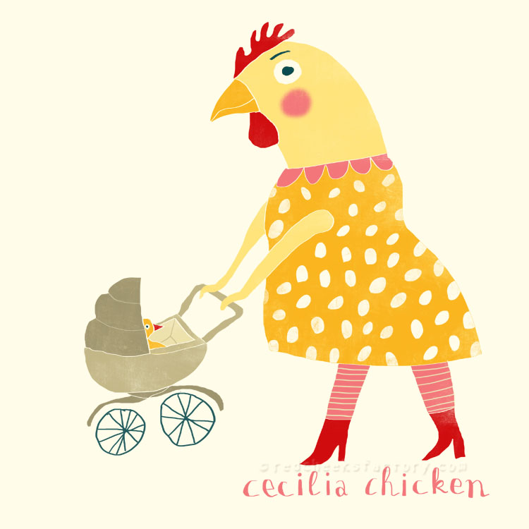 Cecilia Chicken animal character by Nelleke Verhoeff