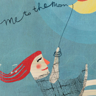 Fly me to the moon illustration of a girl flying in the air with the moon
