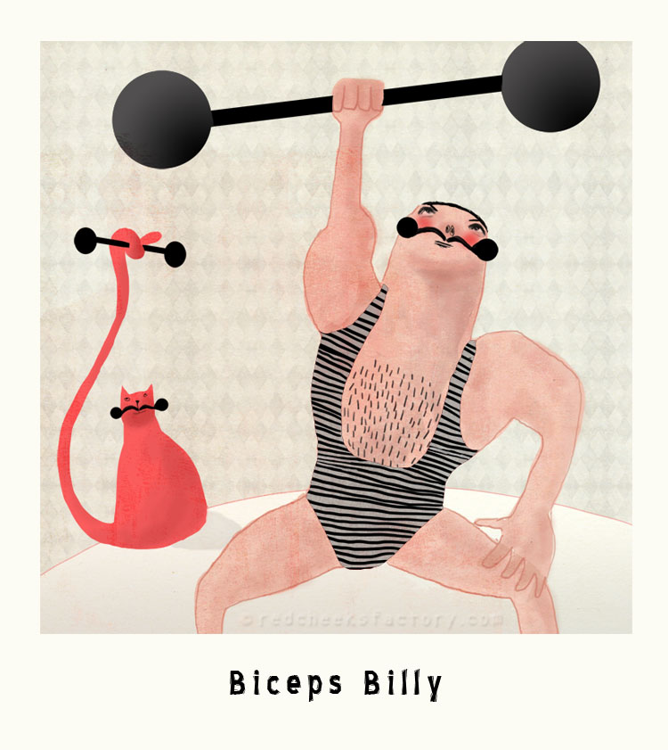 Biceps Billy Marvelous Macho Illustration