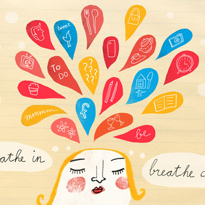 breathe in, breathe out  editorial illustration for an article about meditation
