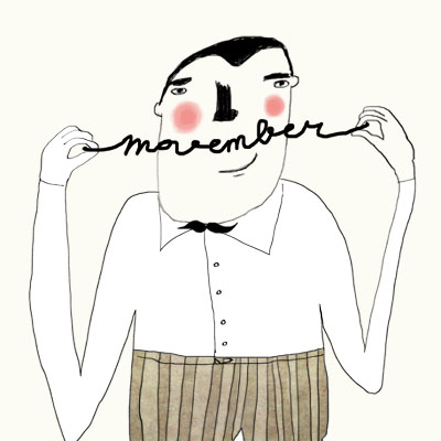 Movember Moustache Month illustration Man with a handwritten moustache