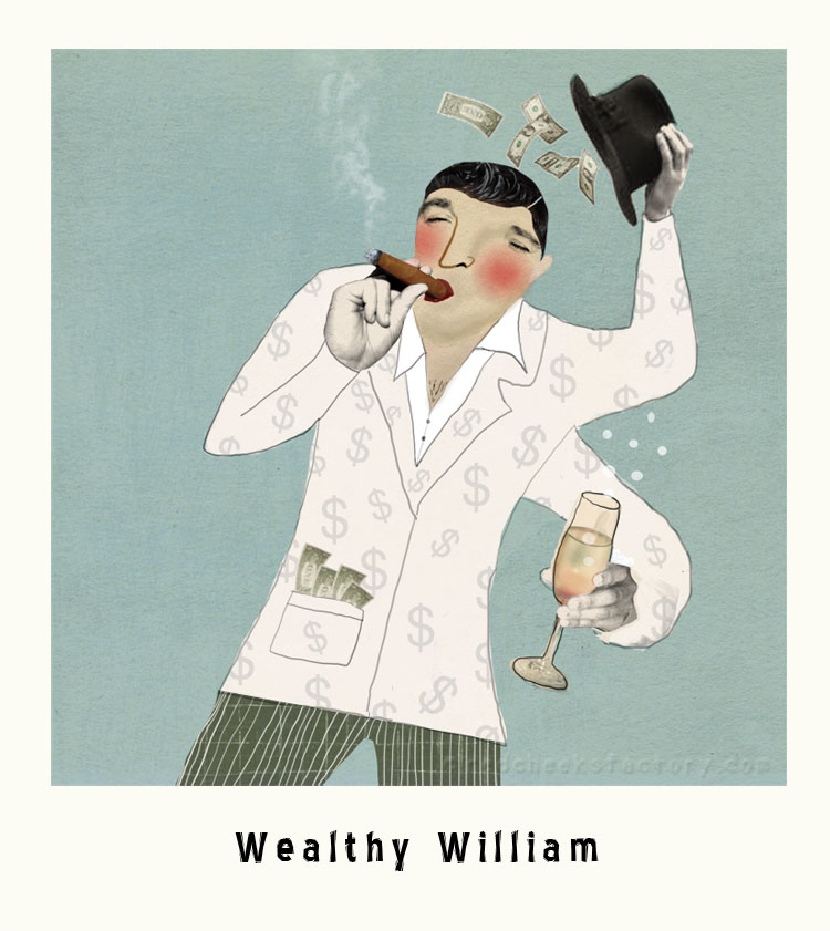Wealthy William Marvelous Macho Illustration
