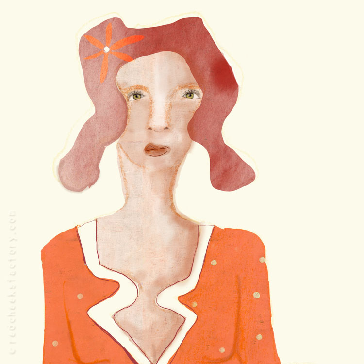 Lady In Orange Illustration