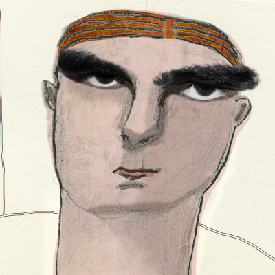Portrait man with big eyebrows