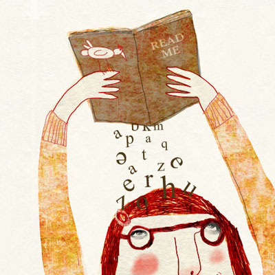Illustration of a woman with book - book lover