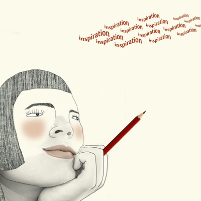 Illustration of a woman with pencil waiting for some inspiration