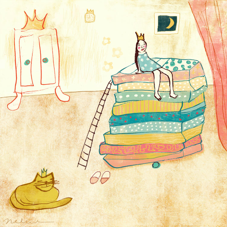 Pea Princess   illustration by Nelleke Verhoeff for  princess and the pea fairytale