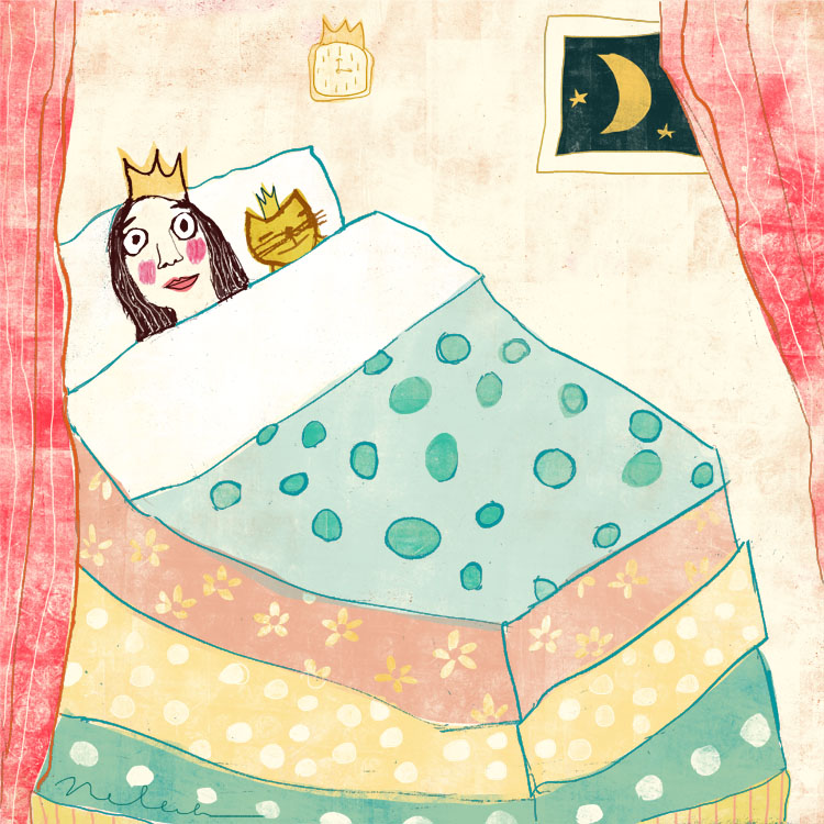 Pea Princess 3  illustration by Nelleke Verhoeff for  princess and the pea fairytale