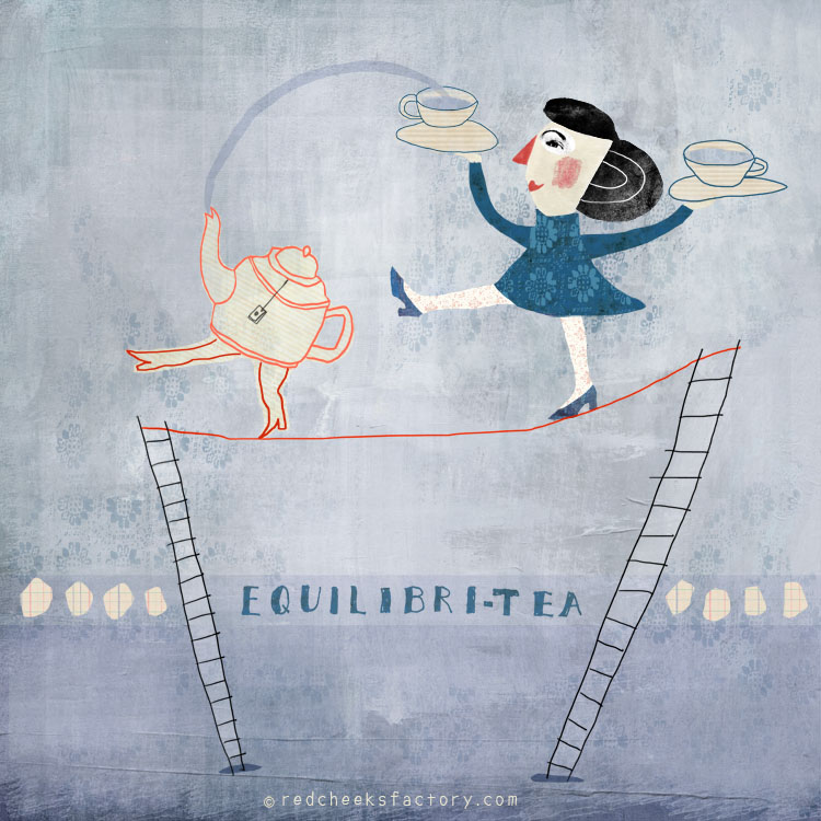 Equilibri Tea Flexibili Tea giclee print in the mad tea party series by Nelleke Verhoeff