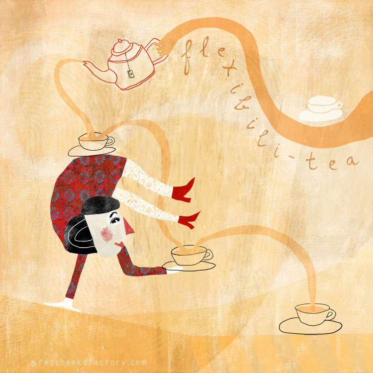Flexibili Tea giclee print in the mad tea party series by Nelleke Verhoeff