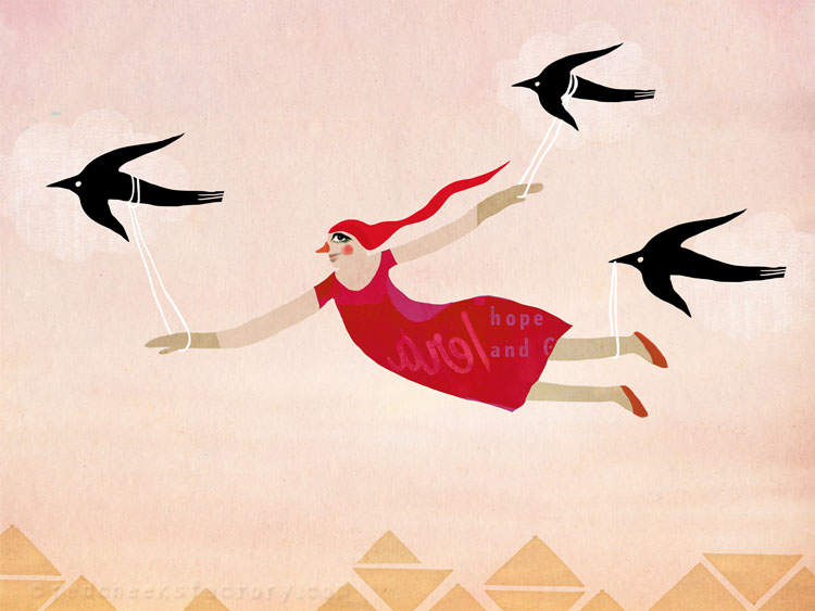 Learn To Fly giclee print Red Cheeks Factory