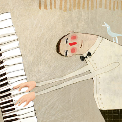 Illusration In concert of a piano player with a bird on his shoulder