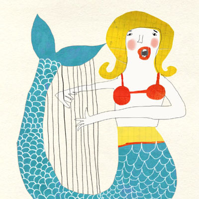 Nautical Illustration of two singing mermaids