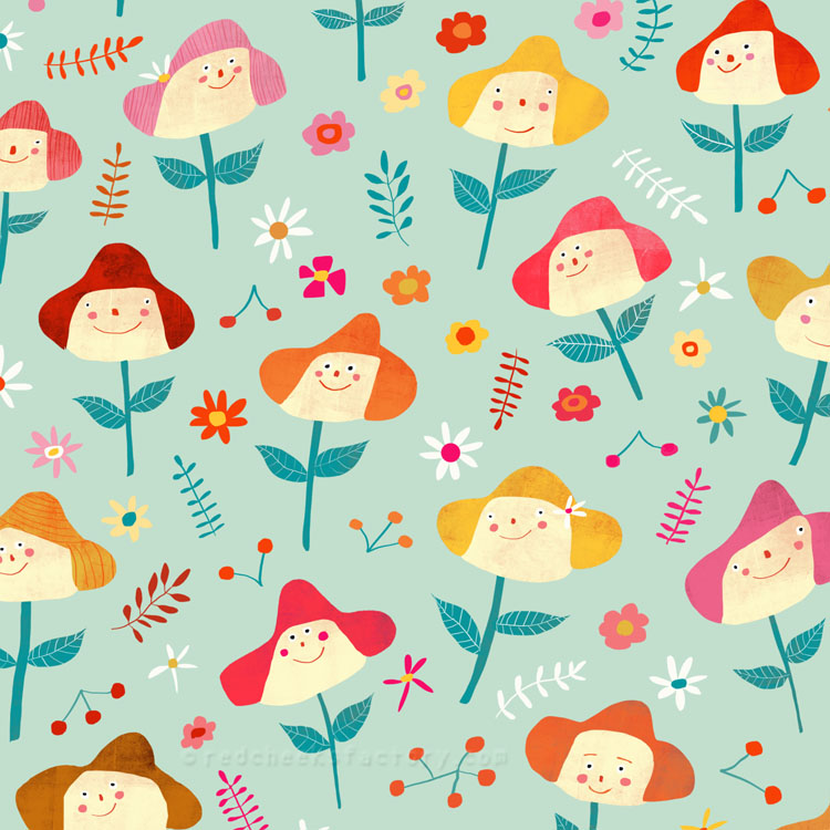 happy flowers pattern Red Cheeks Factory