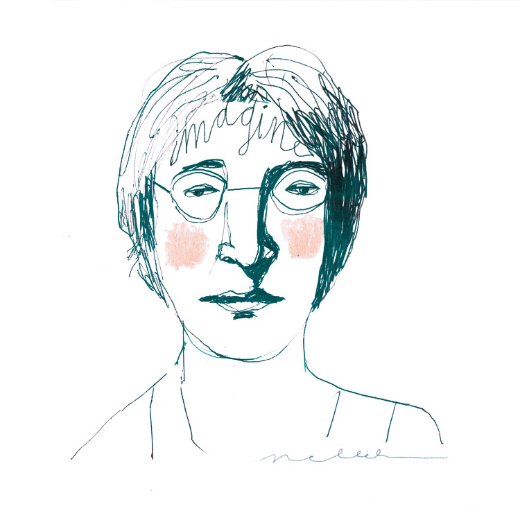 Lennon Imagine drawing of John Lennon by Nelleke Verhoeff