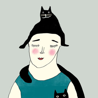 Illustration of two women with their cats