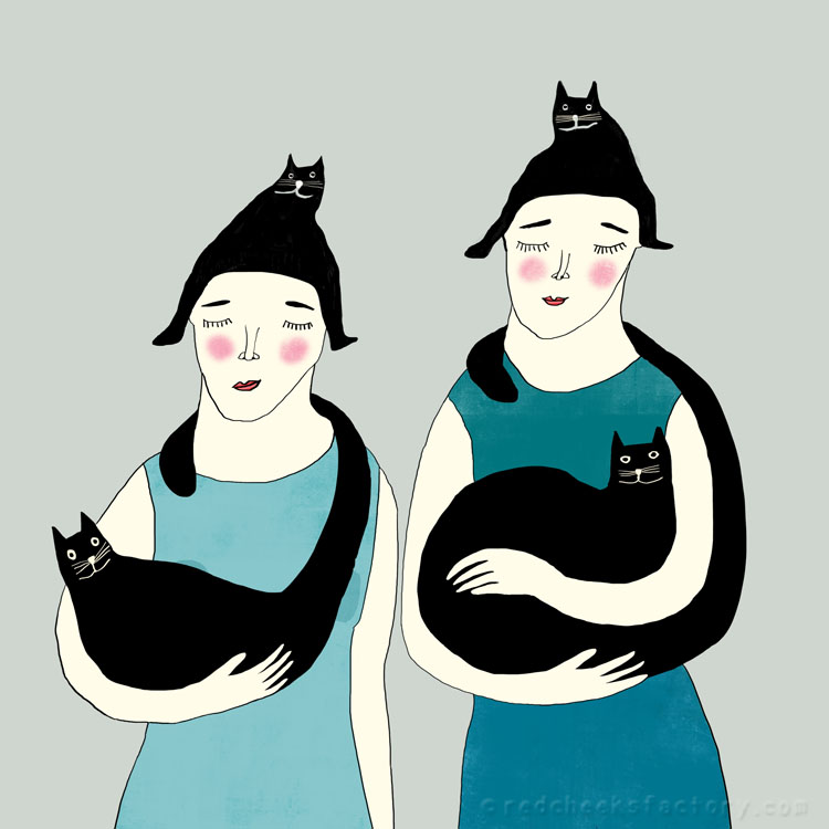Women With Cats Illustration Nelleke Verhoeff
