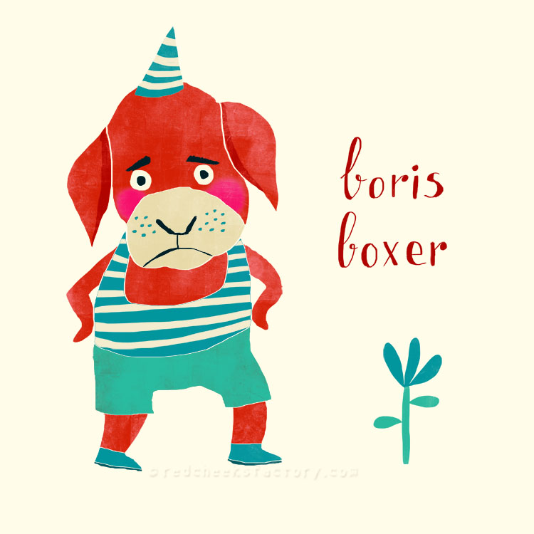 Boris Boxer animal character by Nelleke Verhoeff