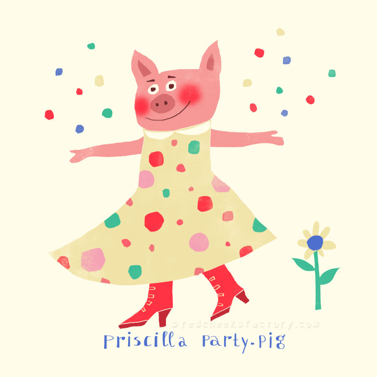 Priscilla Party Pig animal character by Nelleke Verhoeff