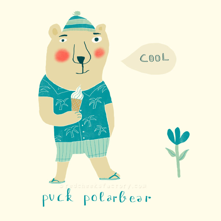 Puck Polarbear animal character by Nelleke Verhoeff