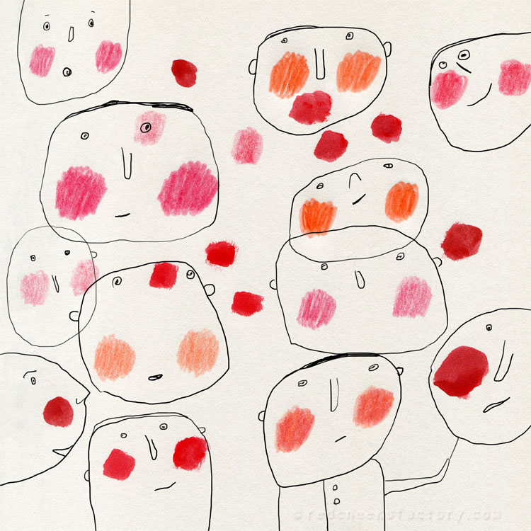 Red Cheeks drawing / illustration by Nelleke Verhoeff