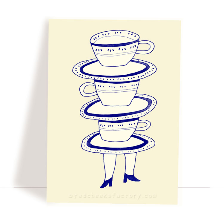 Dutch Tea Party 2- Delft Blue postcard design by Nelleke Verhoeff