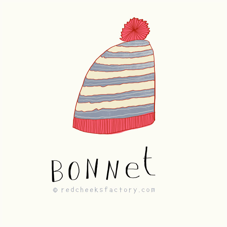 Bonnet illustration by Nelleke verhoeff