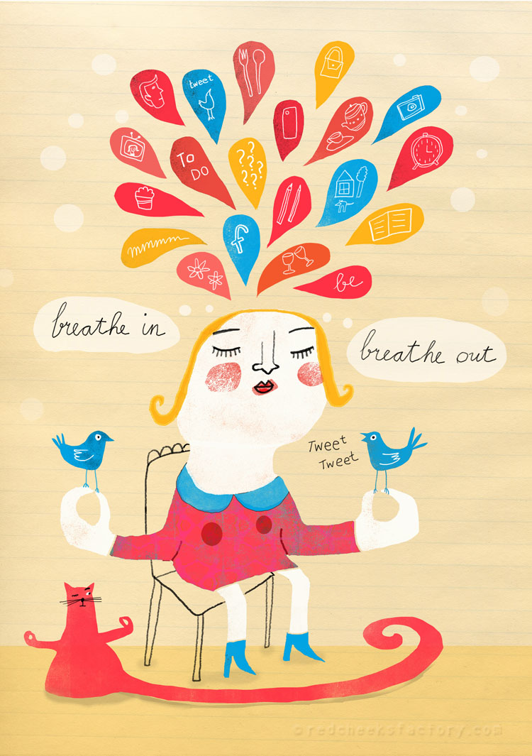 Breathe In Breathe -Out meditation illustration Red Cheeks Factory