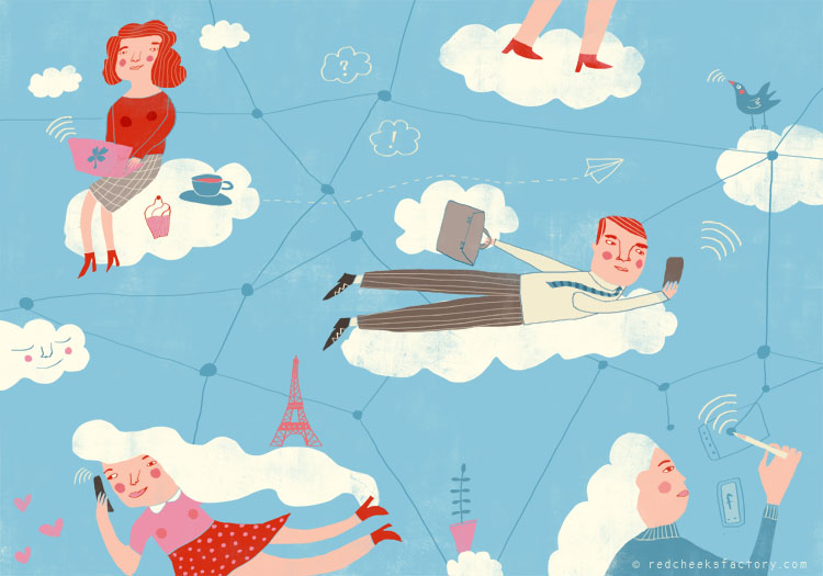 In The Cloud Digital nomads illustration by Nelleke Vehoeff