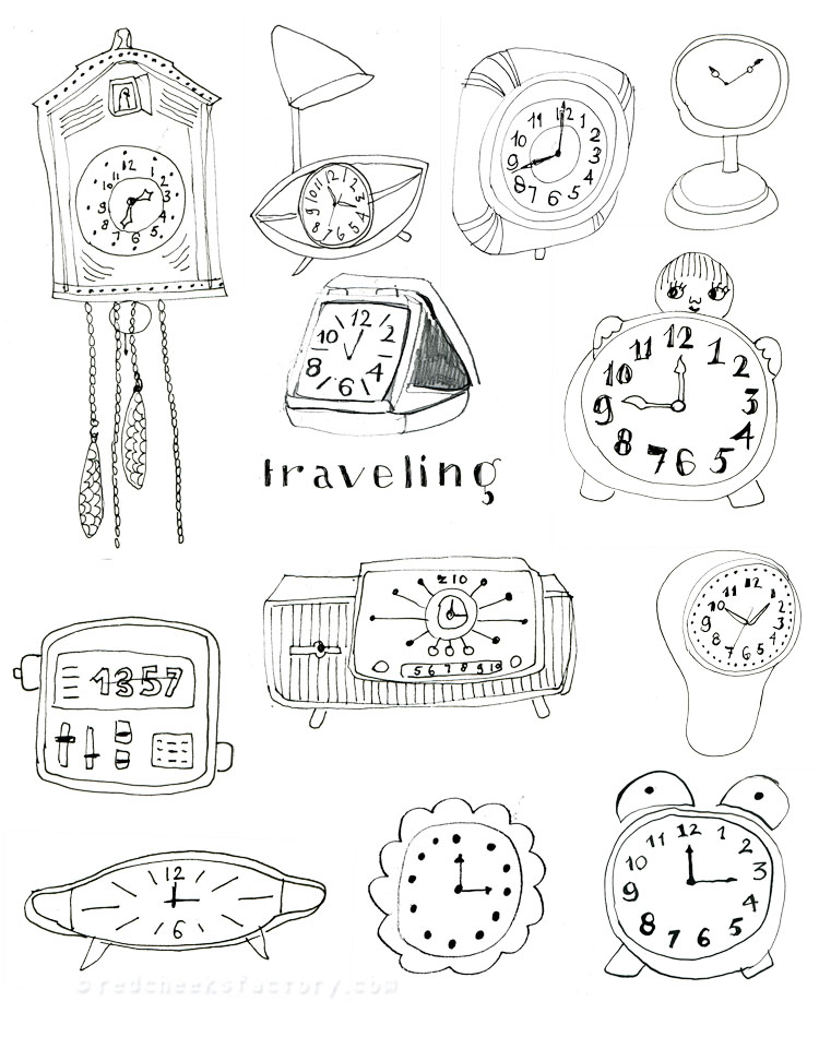 Vintage Clocks Illustration around the theme: time and letters for scrapbooking