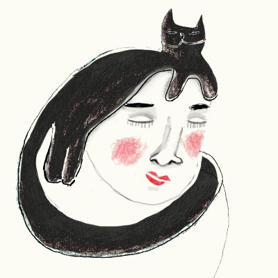 Illustration of a woman with her cat