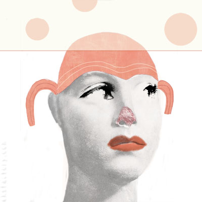 Illustration of a clown girl with a broken nose