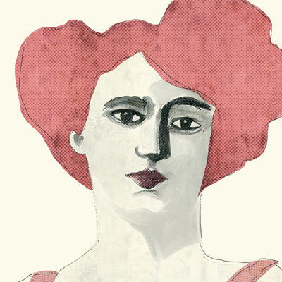 lady in pink portrait vintage illustration