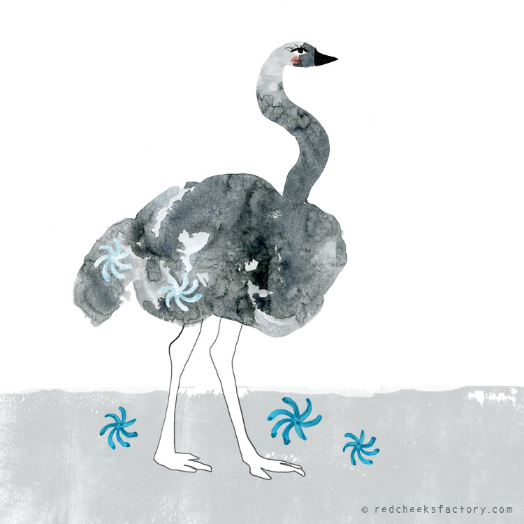 Ostrich  Ostrich Illustration by Nelleke Verhoeff for the French fairy tale Bonne Biche & beau Minon