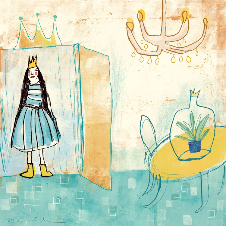 Pea Princess 'Three Brothers' illustration by Nelleke Verhoeff for  princess and the pea fairytale