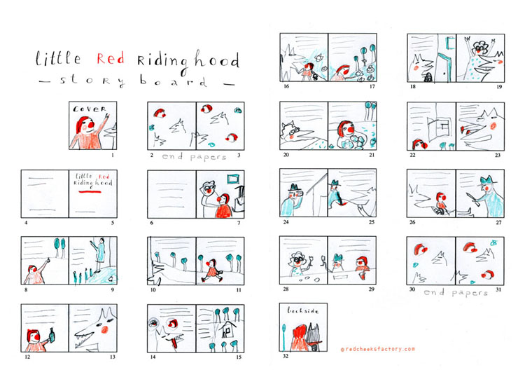 Red Ridinghood Storyboard  by Nelleke Verhoeff for little red ridinghood fairytale
