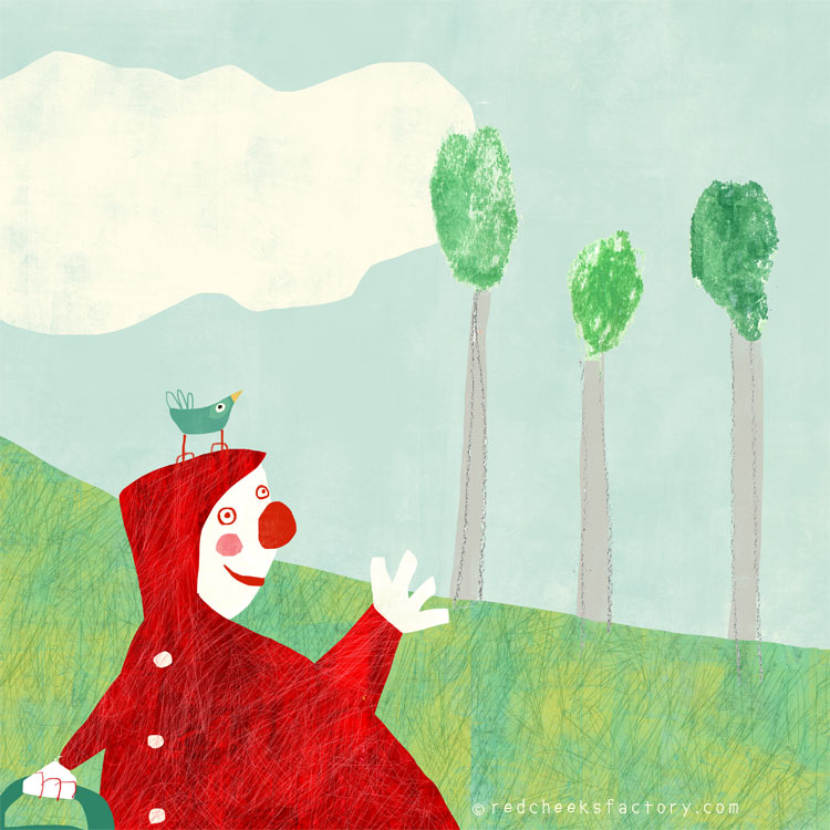 Ridinghood 2 Spread Ridinghood 1 illustration by Nelleke Verhoeff for little red ridinghood fairytale