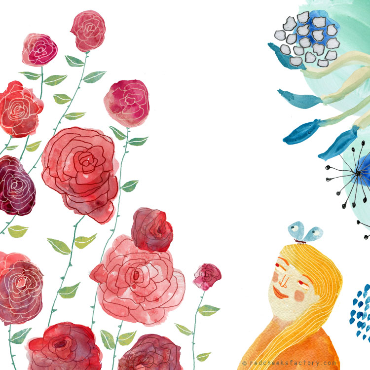 Roses Illustration by Nelleke Verhoeff for the French fairy tale Bonne Biche & beau Minon