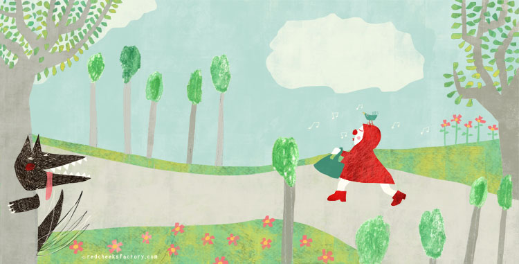 Spread Ridinghood 2  illustration by Nelleke Verhoeff for little Red Ridinghood fairytale