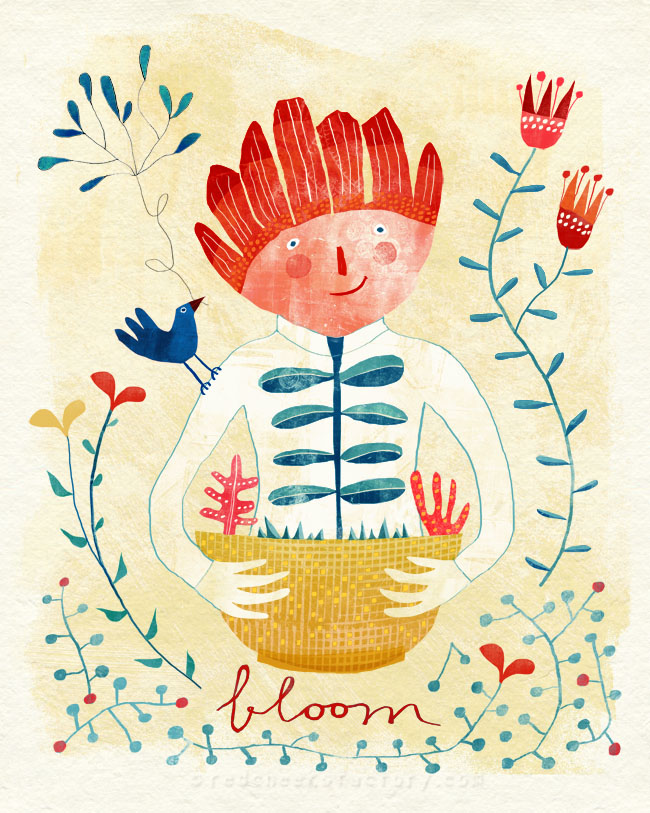 BLOOM illustration wall art for Lilla Rogers Global Talent Search 2014 Red Cheeks Factory