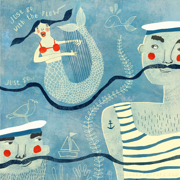 Go With The Flow - nautical illustration