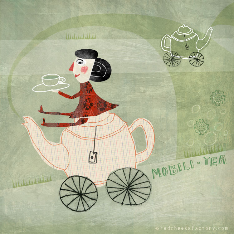 Mobili Tea giclee print in the mad tea party series by Nelleke Verhoeff