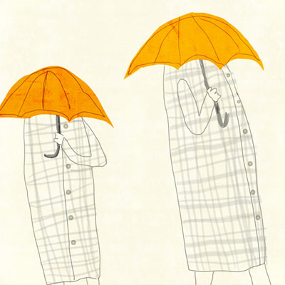 Illustration of three woman with yellow umbrellas