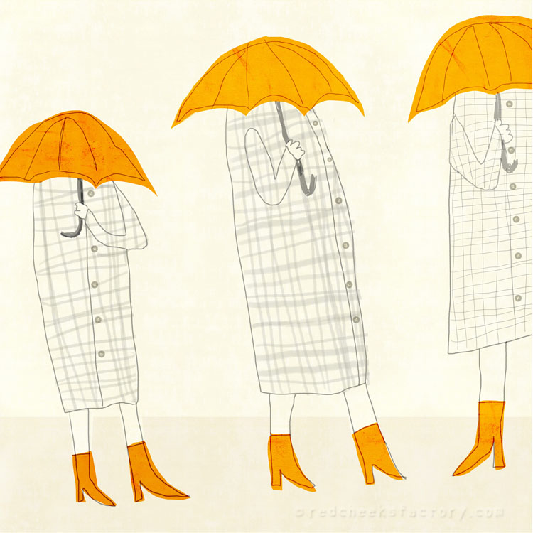 Trio Umbrella illustration Red Cheeks Factory