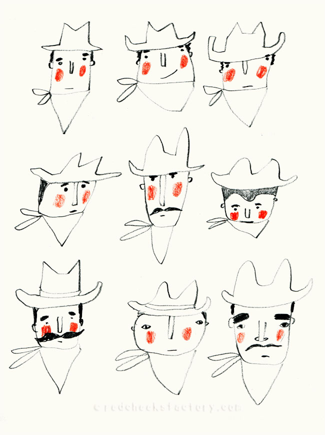 Cowboy Heads sketches