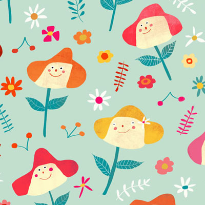 happy flower pattern in retro colors