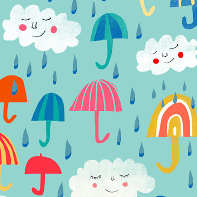 quirky umbrella, rain and clouds patterns