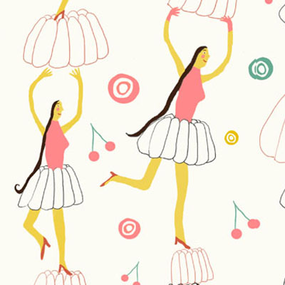 Jelly party pattern a ballet of dancing girls and jelly pies