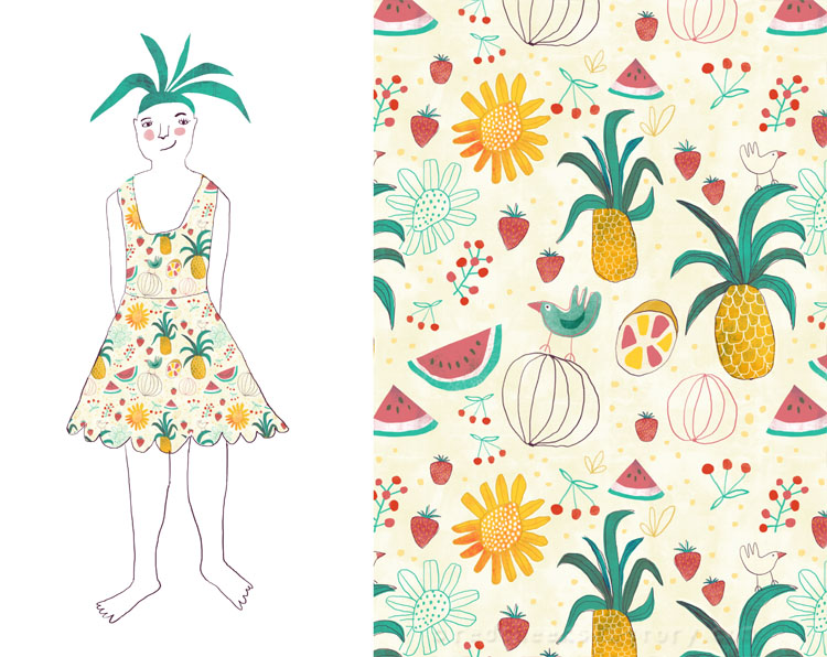 Tropical Party Pattern and dress - Red Cheeks Factory