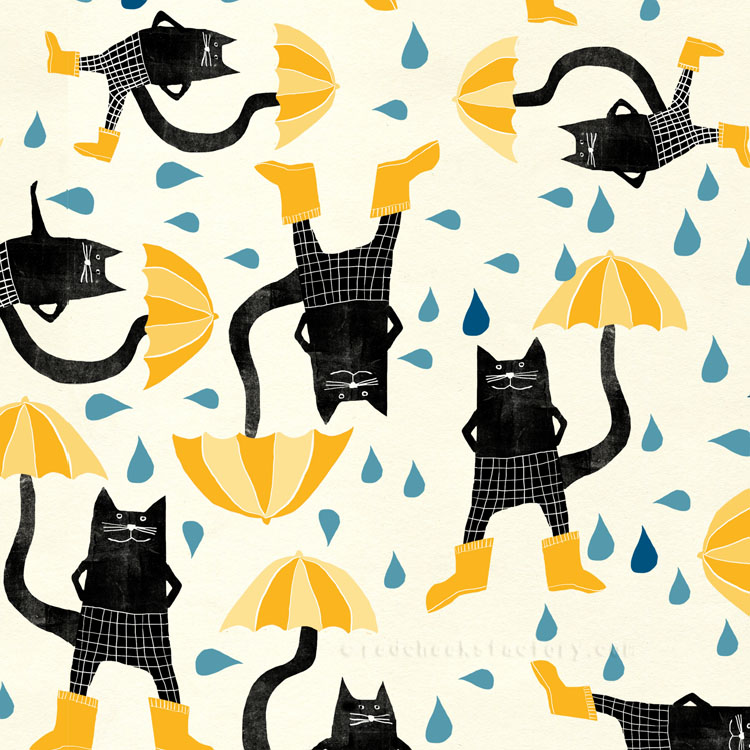 Umbrellas And Cats pattern Nelleke verhoeff